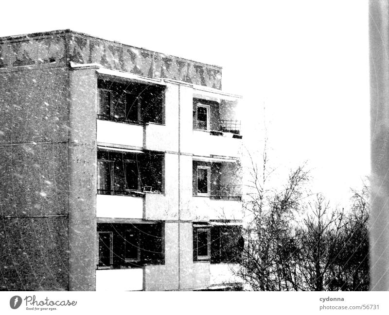 Winter House (Residential Structure) Loneliness Life Snowfall Sadness Together Flat (apartment) Weather Retro Gloomy Vantage point Living or residing Uniqueness Balcony GDR