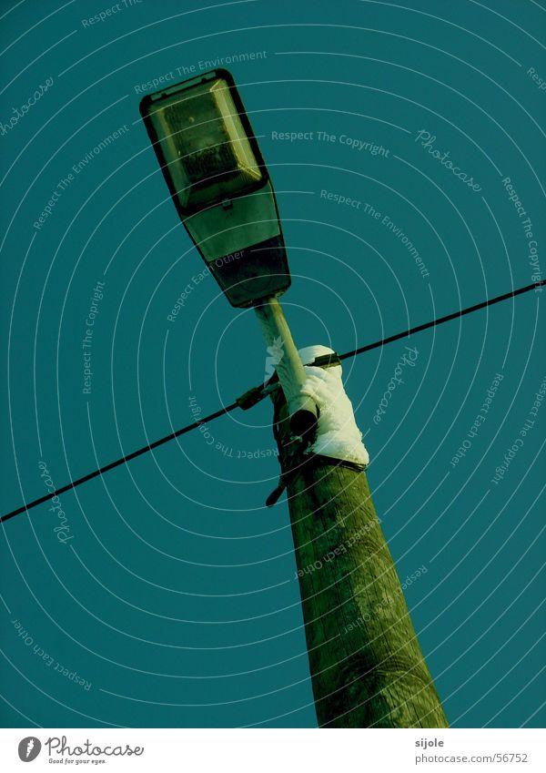 Sky Green Blue Street Lamp Cold Snow Wood Cable Lantern Street lighting Pole