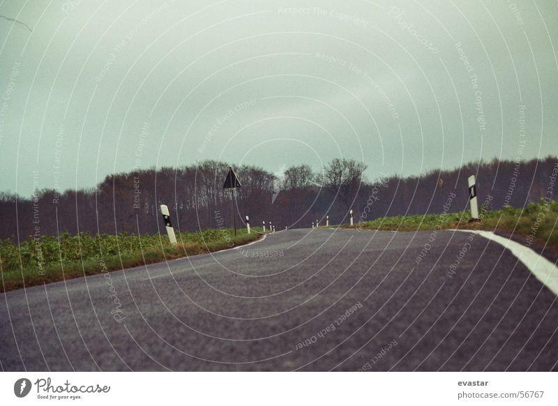 autumn thunderstorm comes up Asphalt Curb Lanes & trails Street Freedom Landscape Sky