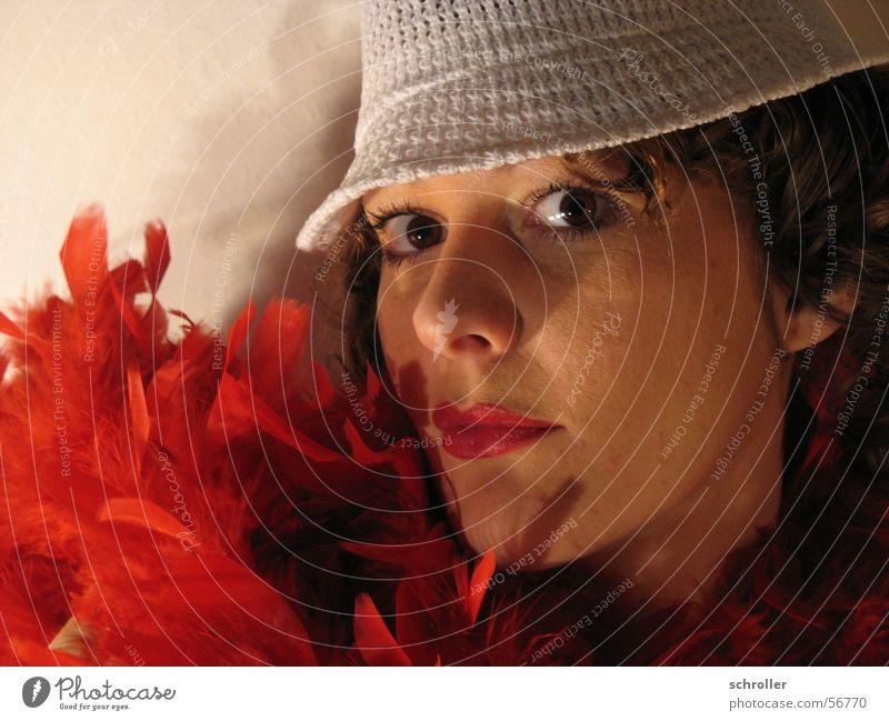 Woman Face Eyes Feather Carnival Lipstick Studio shot Cosmetics Boa