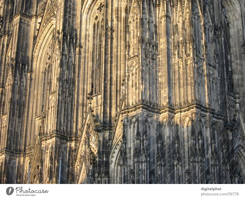 Cologne Cathedral Gothic period Light Wall (barrier) Wall (building) Dome Religion and faith close Shadow Germany Stone cathedral church Architecture