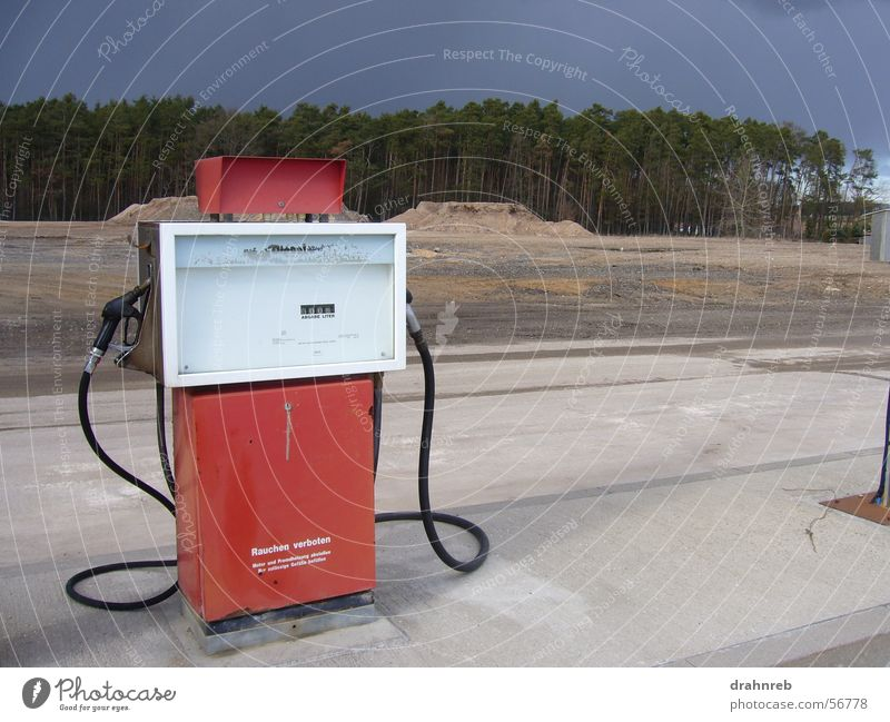 lonely gas pump Petrol pump Loneliness Refuel Spirit Petrol station Diesel Red Contrast Far-off places