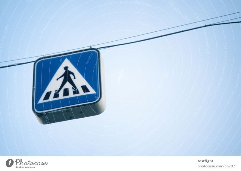 pedestrian Pedestrian Hang Suspended Road sign Zebra crossing Signs and labeling Blue Signage Rope