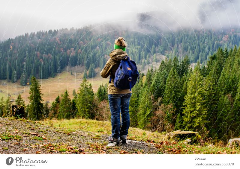 Nature Youth (Young adults) Blue Green Tree Young woman Landscape 18 - 30 years Forest Adults Environment Mountain Feminine Autumn Healthy Weather