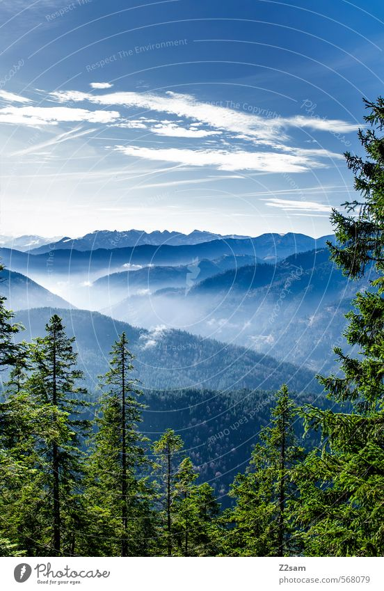 Sky Nature Blue Green Landscape Clouds Forest Cold Environment Mountain Autumn Natural Leisure and hobbies Idyll Fog Hiking