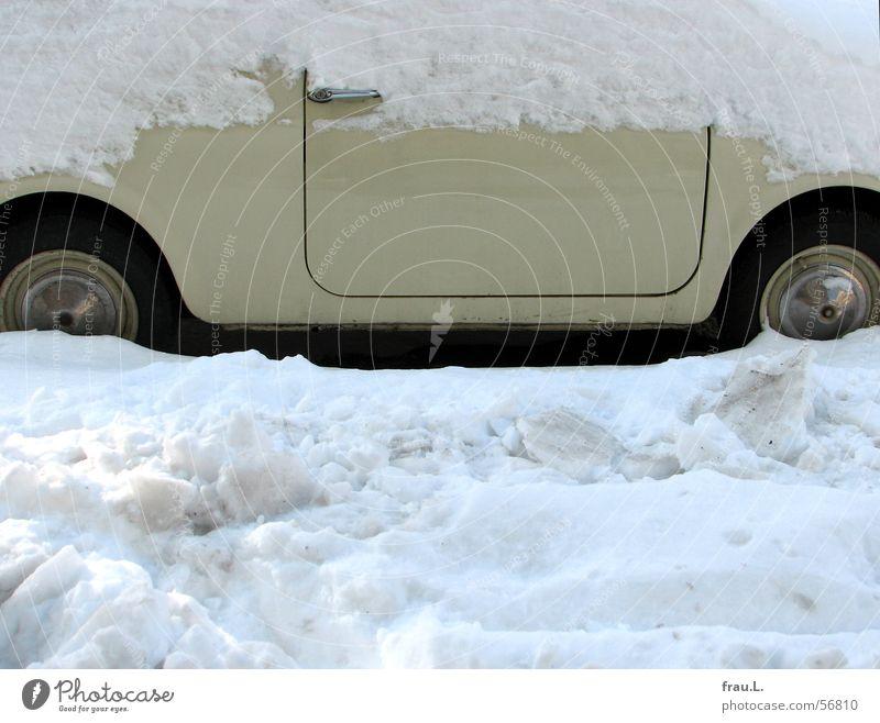 Old Winter Street Snow Small Car Door Transport Sidewalk Wheel Door handle Beige