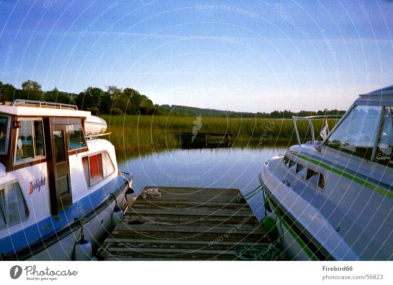 houseboat Houseboat Watercraft Lake 2 Footbridge Blue In pairs