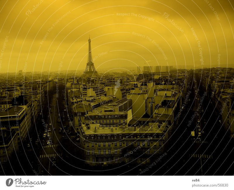 Paris in a doomsday mood France Yellow Black Fog Fog bank Clouds Town Eiffel Tower Light Block Housefront Direct Pattern High-rise Flat (apartment) Places
