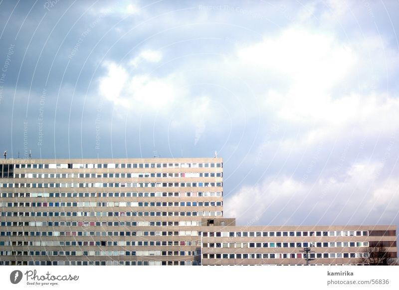 plate tectonics Prefab construction House (Residential Structure) Building Wall (building) Facade Sixties Seventies Berlin Clouds GDR Rain Sky Illustration