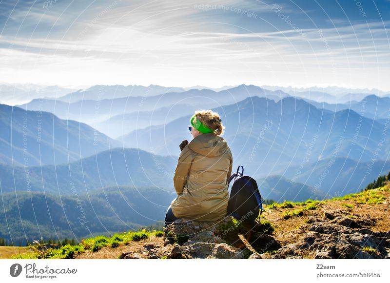 The world at your feet Lifestyle Vacation & Travel Tourism Mountain Hiking Feminine Young woman Youth (Young adults) 18 - 30 years Adults Nature Landscape Sky