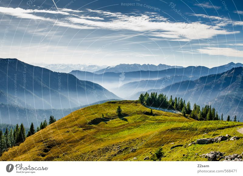 Sky Nature Vacation & Travel Blue Green Landscape Calm Forest Environment Mountain Meadow Autumn Natural Leisure and hobbies Idyll Fog