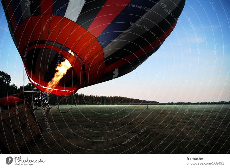 balloon Lifestyle Joy Leisure and hobbies Vacation & Travel Trip Adventure Freedom Landscape Sky Cloudless sky Meadow Driving Flying Exceptional Hot Blue Green