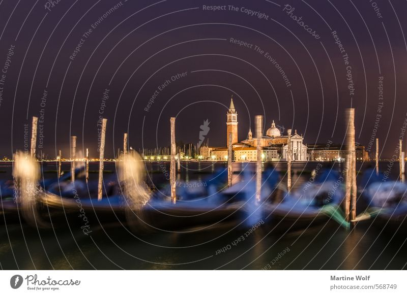 nocturnal Venice Coast Italy Europe Village Town Church Gondola (Boat) Vacation & Travel Calm Basilica San Marco Twilight Colour photo Exterior shot
