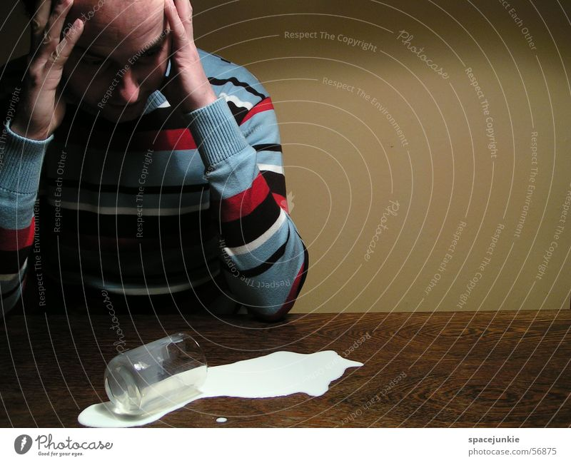 Man Yellow Wall (building) Glass Table Sweater Milk Tumble down Adversity Beverage Spill Clumsy Frosted glass Striped sweater