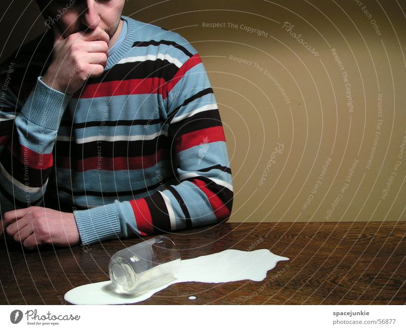 Man Yellow Wall (building) Glass Table Sweater Milk Tumble down Adversity Spill Clumsy Frosted glass Striped sweater