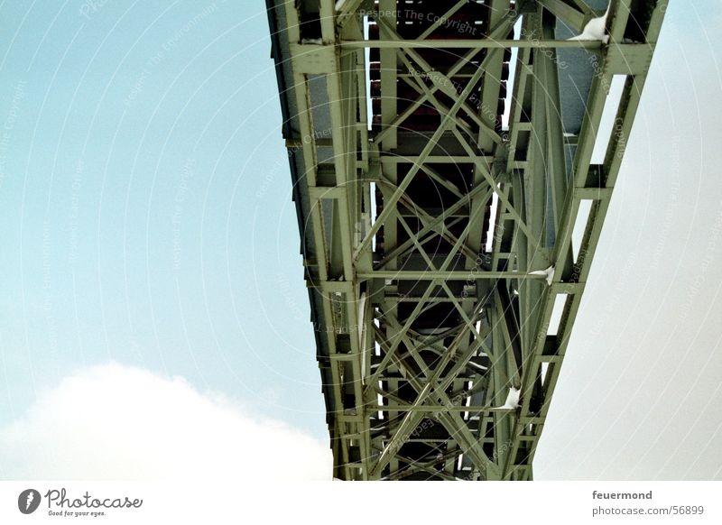 Sky Blue Clouds Railroad Bridge Railroad tracks Steel Suspended Railway bridge