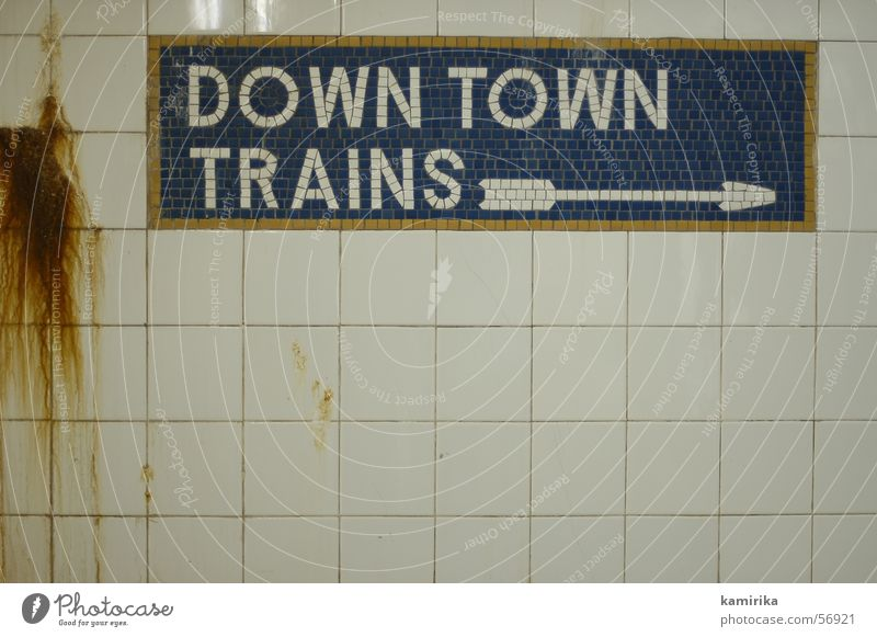 City Vacation & Travel Life Wall (building) Transport Railroad Tile Arrow London Underground Direction New York City London Underground Subsoil Mosaic