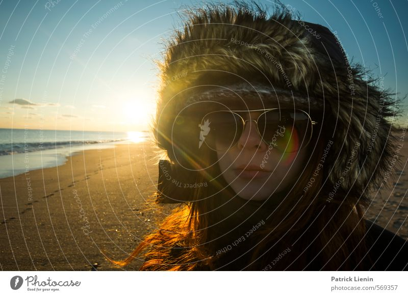 Today Human being Feminine Woman Adults Body Environment Nature Elements Sand Air Sky Sun Sunrise Sunset Summer Weather Beautiful weather Plant Waves Coast