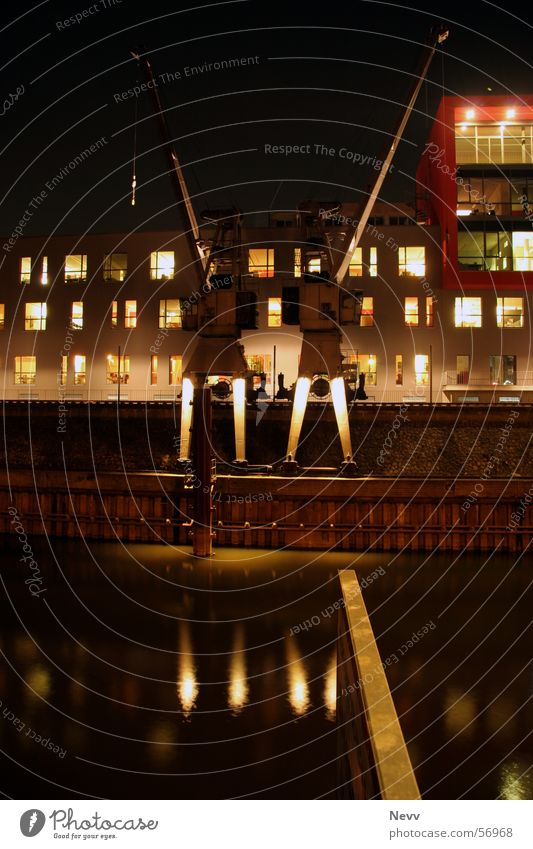 harbour cranes Long exposure Harbour Crane Night Dark Neuss district Lighting Water