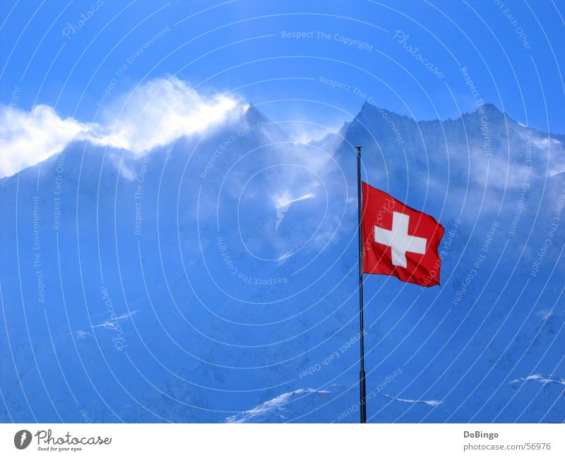 Sky Blue Red Winter Snow Mountain Stone Air Wind Large Back Flag Switzerland Alps Peak Symbols and metaphors