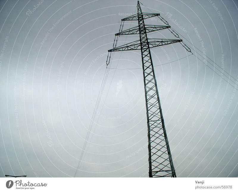 dramatically Electricity Electricity pylon Rain Dramatic Steel Infrastructure Bad weather Weather stormy Crazy Clouds Net Exterior shot