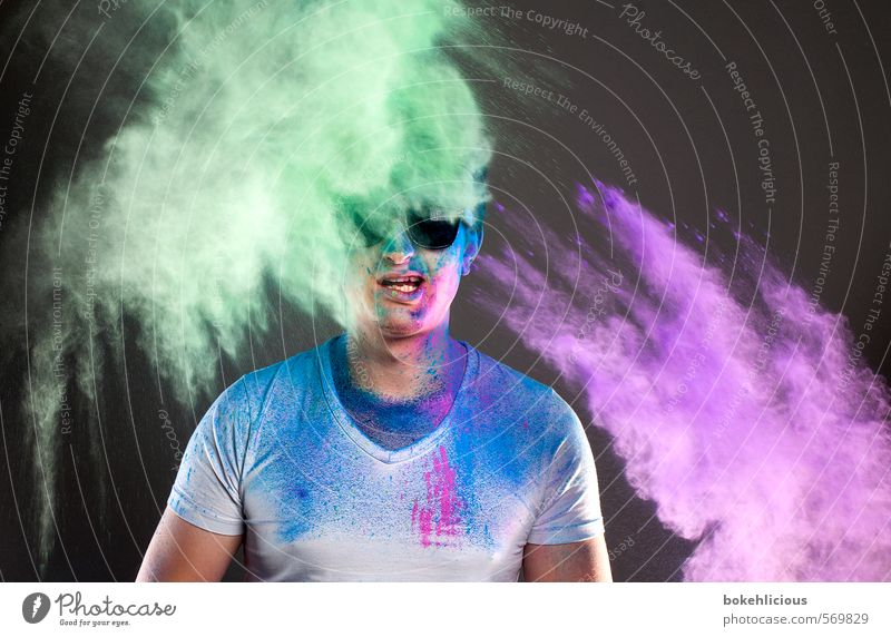 In your Face 9 Human being Masculine Young man Youth (Young adults) 1 18 - 30 years Adults Breathe Speed Grimace Sunglasses Green Violet T-shirt White holi