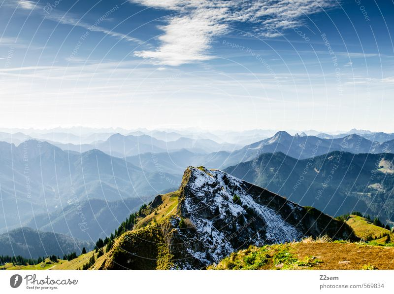 hiking day Mountain Hiking Nature Landscape Sky Autumn Beautiful weather Rock Alps Peak Tall Sustainability Natural Blue Green Loneliness Colour Freedom