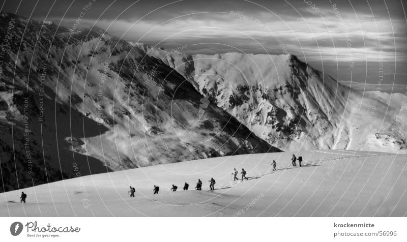 Peau de foc Ski tour Winter sports Alpine Clouds Bad weather Mountain Alps Black & white photo Multiple Snow Expedition Movement Sports