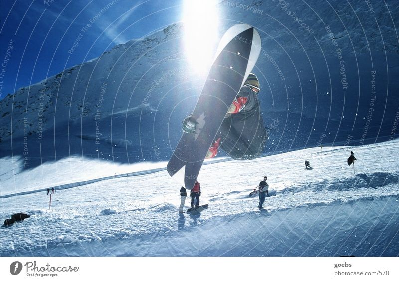 Winter Mountain Snow Sports Flying Jump Tall Touch Posture Alps Athletic Audience Ski resort Snowboard Talented Trick
