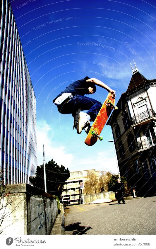 Skaterboy IV Skateboarding Style Etnies Retro Jump Man Air Cool (slang) Ollie Blue Sky Trick jump