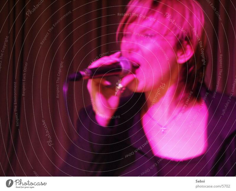singer Singer Microphone Pink Blur Motion blur Woman