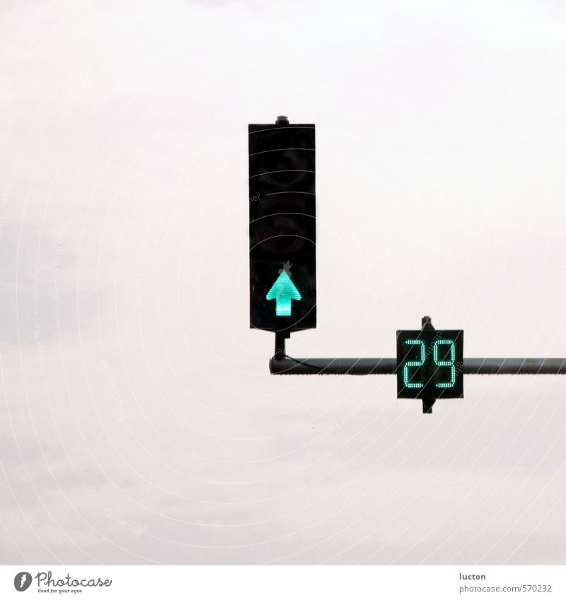 Traffic light 29 City trip Technology Clouds Town Traffic infrastructure Motoring Street Crossroads Road sign Metal Sign Digits and numbers Signs and labeling