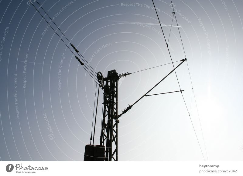 Sky Blue Power Modern Future Electricity Construction site Strong Science & Research Steel Electricity pylon Weight Wire Transmission lines Advancement