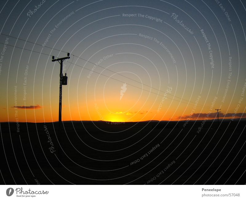 sunset Sunset Electricity Iceland Clouds Horizon Cable Sky Evening Nature