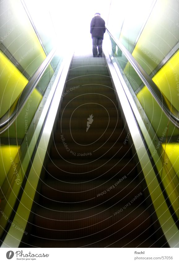 way 2 heaven Escalator Expressway exit Senior citizen Broken Fragile Cool-headed Enchanting Pearly Gates Stairs Male senior Zurich Subway station