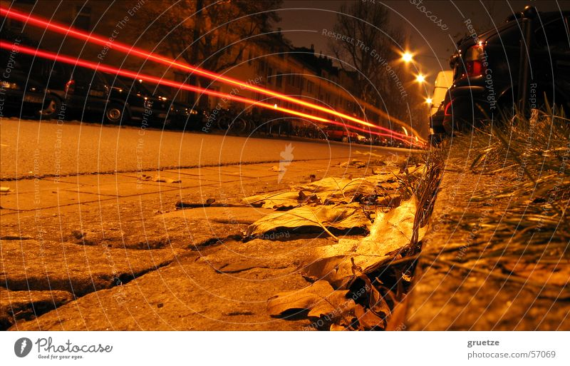 cursed Speed Bremen Night Dark Leaf Vanishing point Roadside Lantern Exterior shot Long exposure parked cars