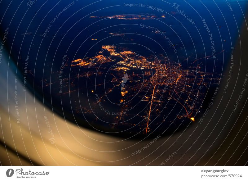Night view Out Of Airplane Vacation & Travel Tourism Business Aviation Sky Clouds Small Town Transport Passenger plane Aircraft Dark Bright Speed Blue White