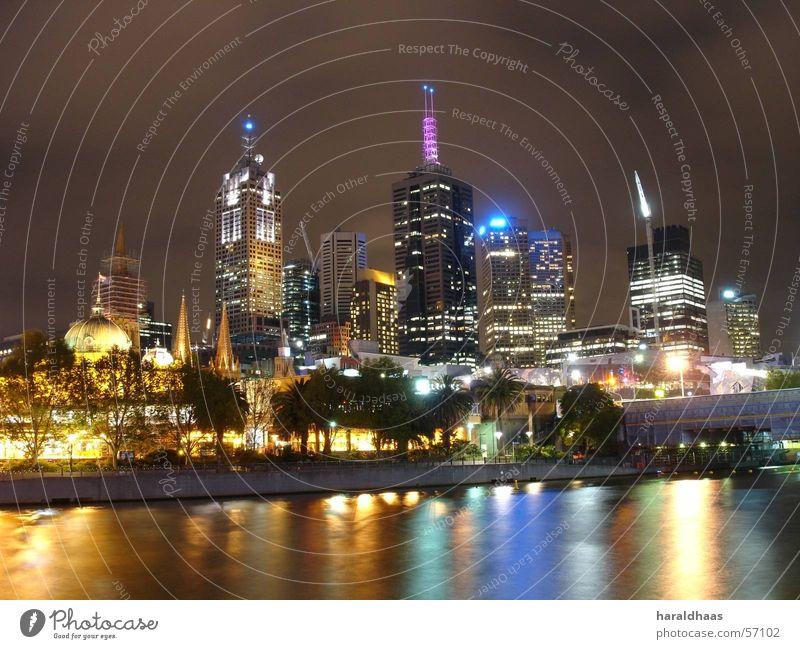 Melbourne CBD Australia Downtown Skyline High-rise Yarra river Night shot Colour photo Exterior shot Deserted Artificial light Long exposure Light