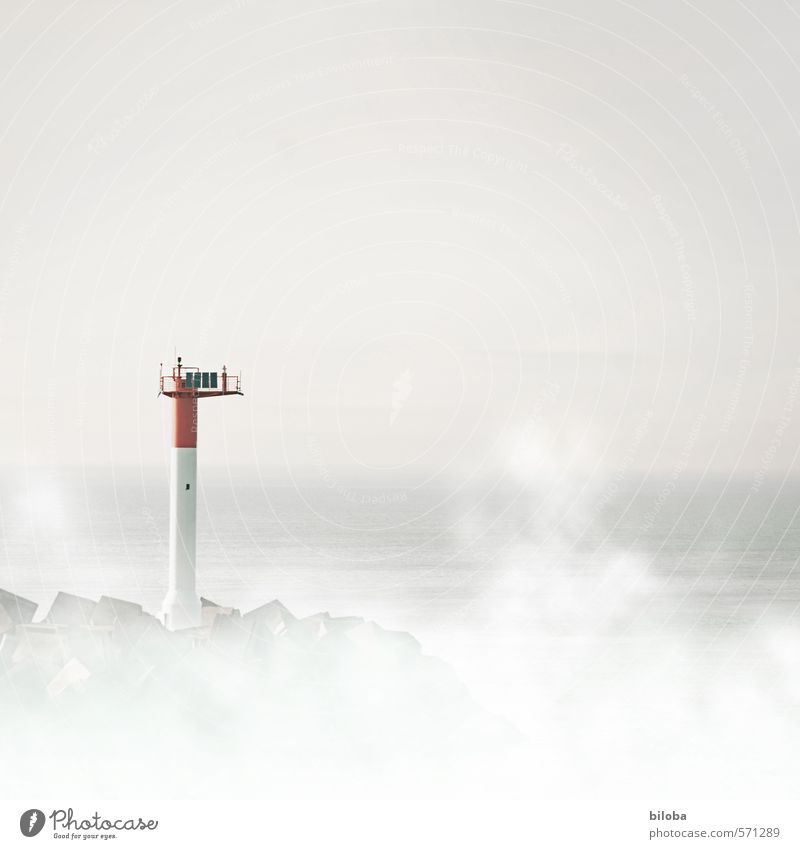 Lighthouse in the fog at port exit Shroud of fog harbour exit Water shipping Sky Fog Bad weather Coast North Sea Ocean Gray Red White Dunkerque France