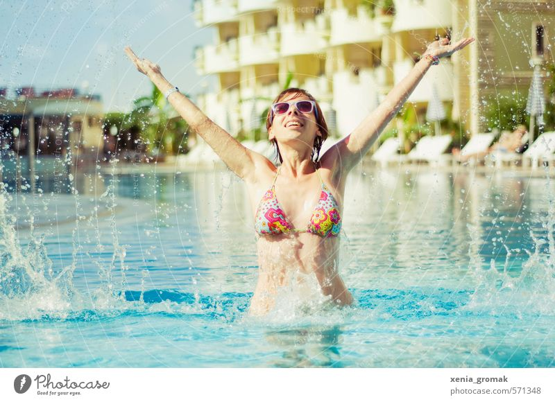 Human being Woman Child Youth (Young adults) Vacation & Travel Summer Sun Young woman Joy Far-off places 18 - 30 years Adults Life Feminine Playing Swimming & Bathing