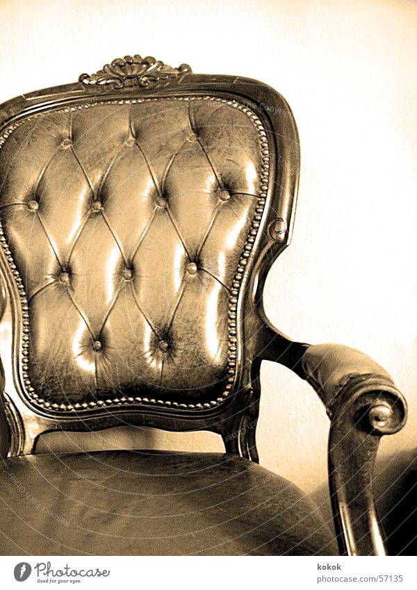Old Calm Relaxation Time Sit Break Chair Leather Seating Ancient Armchair Rivet Antique Flea market Report Card Bulky
