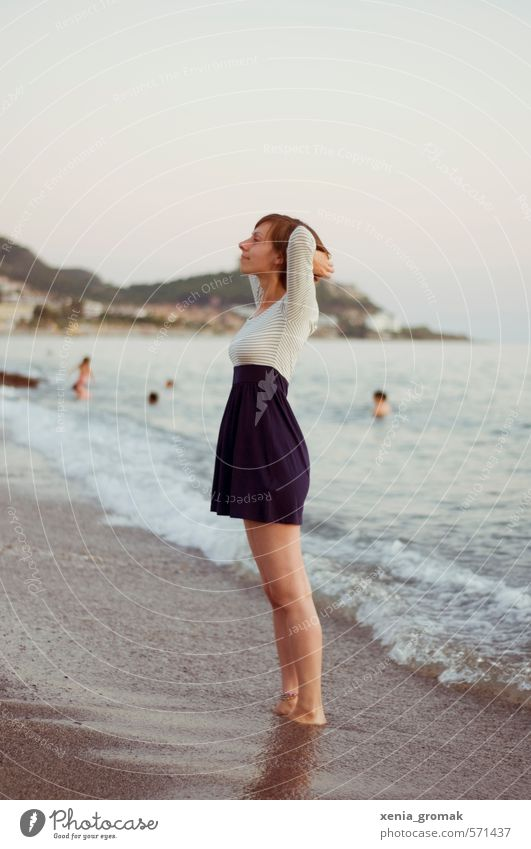 Human being Woman Child Vacation & Travel Youth (Young adults) Summer Sun Ocean Young woman Beach Far-off places 18 - 30 years Adults Life Emotions Feminine