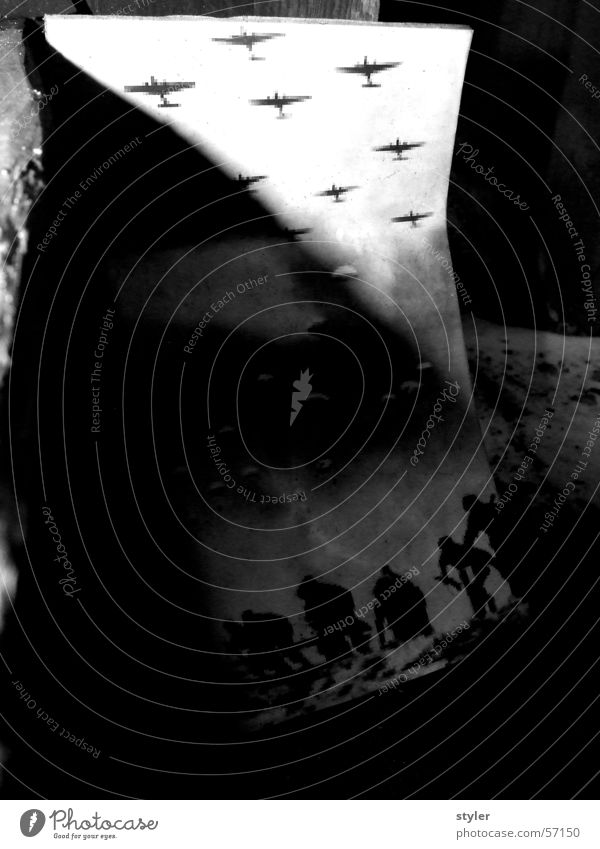 air raid Airplane Refugee Parachute War Escape