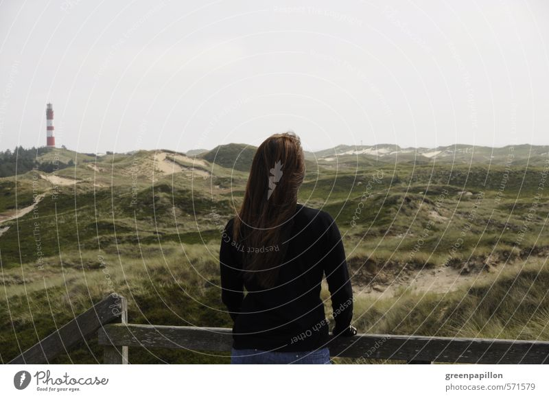 Woman looking over the dunes of Amrum Healthy Eating Athletic Fitness Well-being Relaxation Calm Cure Vacation & Travel Tourism Trip Far-off places Sightseeing