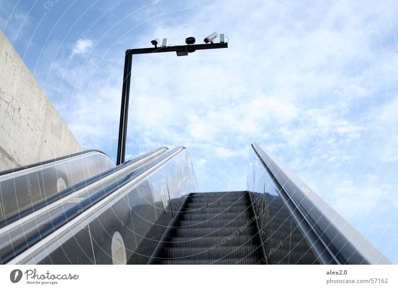 Stairway to heaven... Escalator Clouds Surveillance camera Barcelona Spain Stairs Sky Blue Upward Tall Camera stairway upwards high monitoring camera