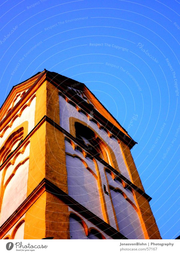 steeple Church spire Window Tower Religion and faith Sky Sun Blue sky Monastery