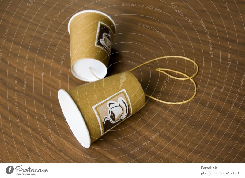 Brown Together 2 Heart String Coffee Telephone Contact Listening Connection Divide Handicraft Connectedness Mug