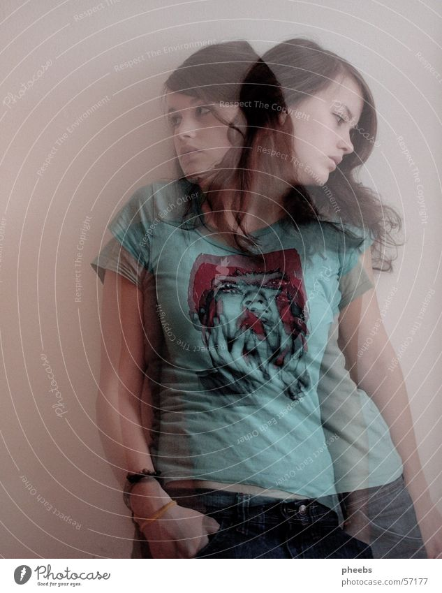 Woman Human being Jeans T-shirt Phenomenon Ghosts & Spectres  Double exposure Progress