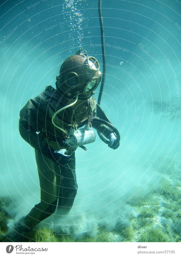 helmet divers Dive Underwater photo Lake Water Historic Walking Man Human being Sand Sea bed