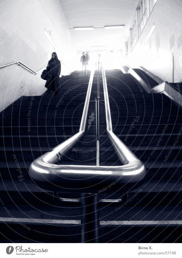 Woman Man Stairs Dangerous Threat Under Train station Handrail Downward Criminality Criminal Subsoil Platform Chase Blooming